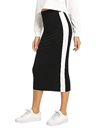df19bc01deaa SheIn Women's Elegant Grid Print High Waist Bodycon Pencil Midi Mid-Calf Skirt  Black-