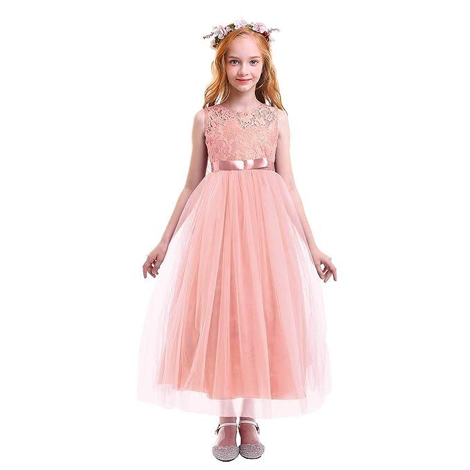 Princesa Vestido de niña de Flores para la Boda Vestidos de Dama De Honor Sin Mangas Largo Fiesta Tul Bowknot Comunión Cumpleaños Bola Pageant Paseo ...