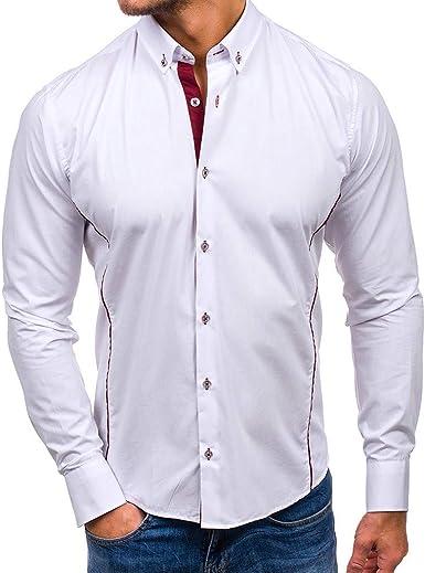 Camisa de Manga Larga para Hombre con Cuello Alto y Bolsillo en el Pecho Camisa de Ajuste Regular para Hombres Camisas Bordadas de Color sólido sólido Retro Tops: Amazon.es: Ropa y accesorios