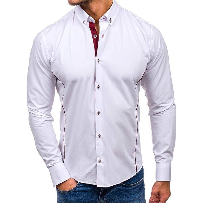 Camisa de Manga Larga para Hombre con Cuello Alto y Bolsillo ...