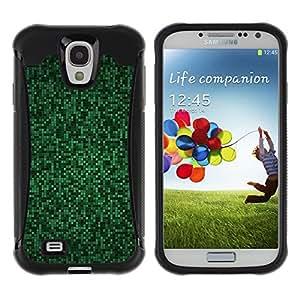 WAWU Funda Carcasa Bumper con Absorci??e Impactos y Anti-Ara??s Espalda Slim Rugged Armor -- green computer pattern tiles cyber hack -- Samsung Galaxy S4 I9500