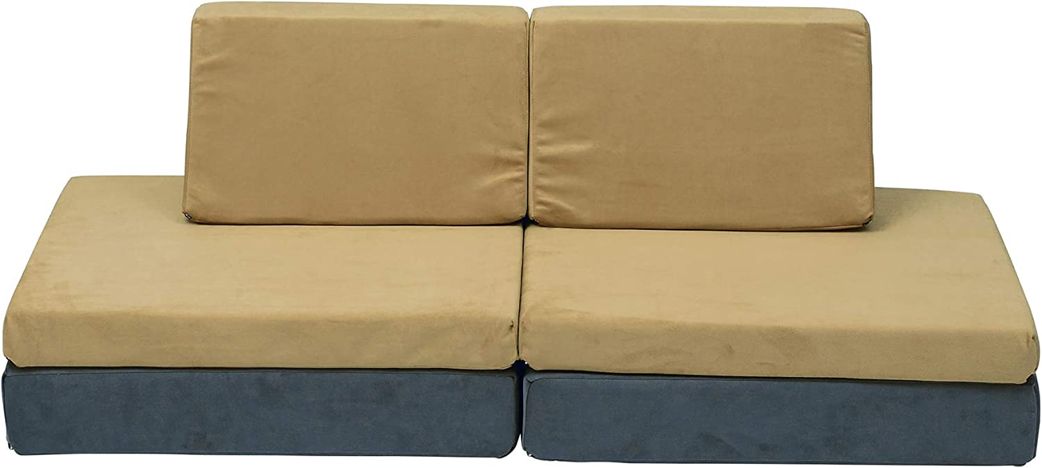 Children's Factory The Whatsit Kids Couch or 2 Chairs, Gray & Gold, CF349-069, Toddler to Teen Bedroom Furniture, Girls and Boys Playroom Sofa