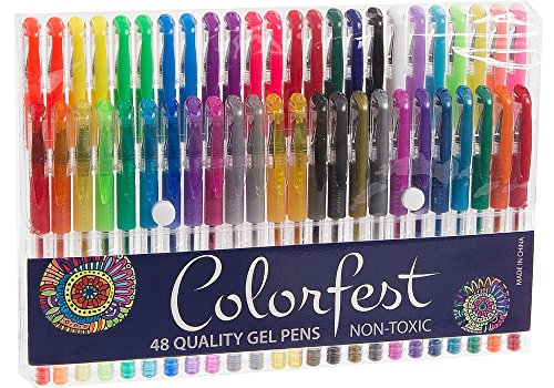 Amazon.com: Colorfest Premium 48 Piece Gel Pen Set for Adult ...