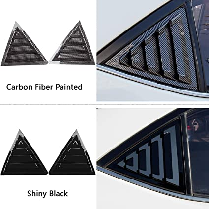 eastar 2Pcs Carbon Fiber Style Rear Side Window Scoop Louver Vent Cover Trim Fit for Toyota Corolla 2014-2018