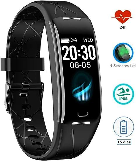 Pulsera Actividad Inteligente Podómetro Pulsómetro Monitor ritmo Cardiaco Control sueño GPS Impermeable IP68 Calorias Reloj Inteligente 7 modos de deporte Pulsera deportiva Hombre Mujer IOS Android: Amazon.es: Deportes y aire libre