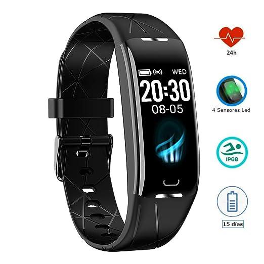 Pulsera Actividad Inteligente Podómetro Pulsómetro Monitor ritmo Cardiaco Control sueño GPS Impermeable IP68 Calorias Reloj Inteligente 7 modos de ...