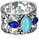 Sterling Silver Turquoise and Lapis Filigree Ring