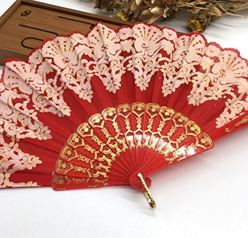 Red Fashion Vintage Spanish Plastic Embroidered Hand Folding Women Girl Dancing Fan Home Decor Tools by Hand Fan