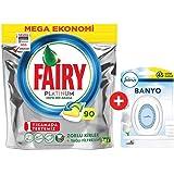 Fairy Platinum 90 Yıkama Bulaşık Makinesi Deterjanı Kapsülü + Febreze Hava Ferahlatıcı Banyo Oda Kokusu 300 ml Temiz…