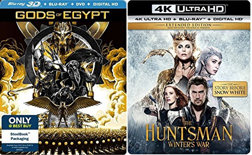 Epic Tales Snow White Story The Winter's War 4K + Gods of Egypt 3D Exclusive Steelbook Edition Blu Ray + DHD Set Amazing Fantasy Action Double Feature