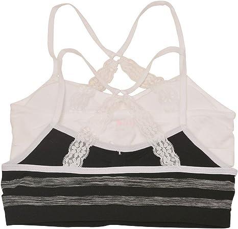 Big Girls Black Pink Strappy Back Tiny Tie Accent 2 Pc Cami Bra Set 8-16