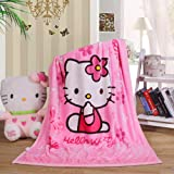 Cartoon Throw Blanket Hello Kitty Adults & Baby Cozy Plush Fleece Coral Velvet Fuzzy Blanket for Bedroom Bed,Couch Chair,Livi
