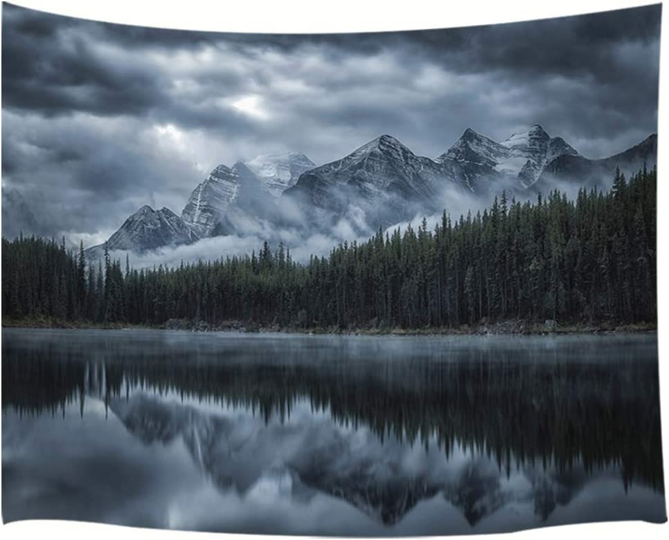 JAWO Landscape Tapestry Wall Hanging, Lake with Mountain Forest Landscape Wild Nature Scenic, Polyester Fabric Wall Tapestry for Home Living Room Bedroom Dorm Decor 71W X 60L Inches