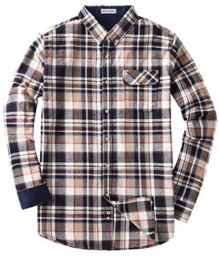 MOCOTONO Men's Long Sleeve Flannel Plaid Dress Shirt Western Button Down Shirts Khaki XX-Large