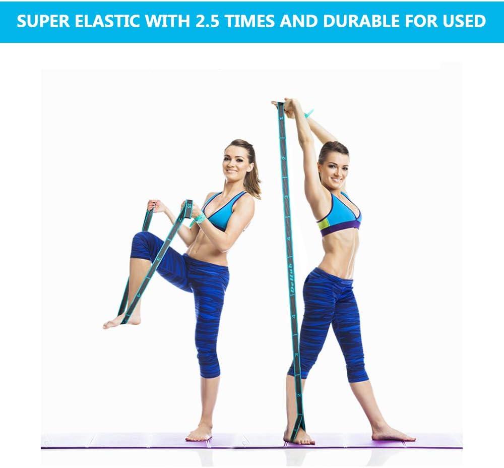 Yoga Stretch Gurt mit 8 Schleifen K/örperliche Therapie Ideal f/ür Hei/ßes Yoga Gr/ö/ßere Flexibilit/ät. DeHub Yoga Set Waschbarer Leicht zu Tragender und Hochelastischer Gymnastik-Gur