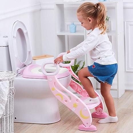 Escalera wc, Adaptador wc Niños, 2 Escalones y Agarraderas Grandes, Antideslizante, Plegable, Altura Ajustable para 1-8 niños (Rosa): Amazon.es: Bebé