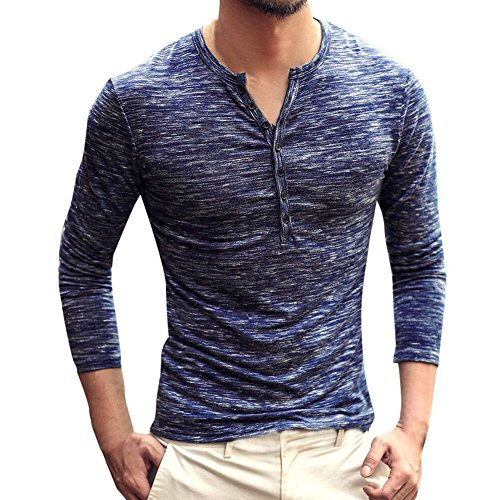(Men Casual Vintage Long Sleeve Button Up V-Neck T-Shirt Henley Tops)