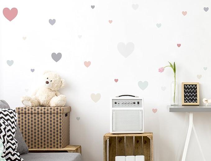 Wandtattoo Pastell Herzen in hellen Farben 25 Stück Mädchenzimmer