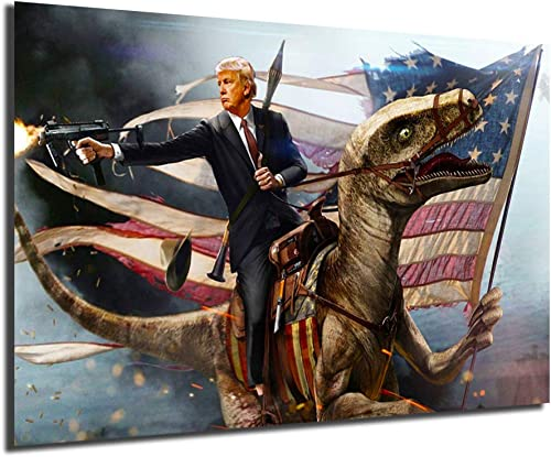 Donald Trump Pistol Flag For President 2020 Poster Painting On Canvas Bedroom Wall Art Decoration Pictures Home Decor Framed,24x36inch