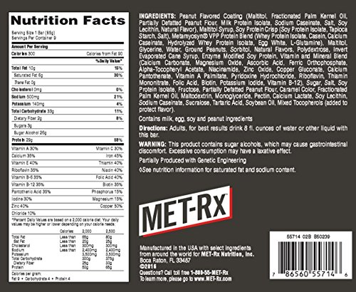 MET-Rx Protein Plus Creamy Peanut Butter Crisp, 85 gram, 9 count