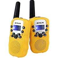Retevis RT-388 Kids Walkie Talkies LCD Display Flashlight VOX Toy for Kids for Birthday Gift Christmas (Yellow,1 Pair)