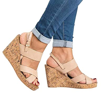 7d5fb7d77c1 Women Wedges Shoes Ankola Womens High Heel Wedge Sandals Open Peep Toe Side Ankle  Buckle Strap
