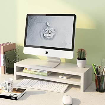 ASDFGH Madera Soporte Pantalla Equipo Organizador Monitor Ordenador Elevador de Monitor, Oficina Monitor de pc Premium y Soporte del Ordenador portátil, ...