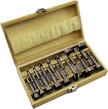 Juego de brocas tipo Forstner 15 teilig madera 10 de hasta 50 mm incluye estuche de madera B1932: Amazon.es: Bricolaje y herramientas