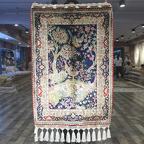 Yilong 2'x3' Persian Rugs Silk Vintage Tree of Life with Birds on the Fountain Design Garden Tapestry Handmade Wall Hanging Rug (Multi) YN015 - Persian Silk Tapestry