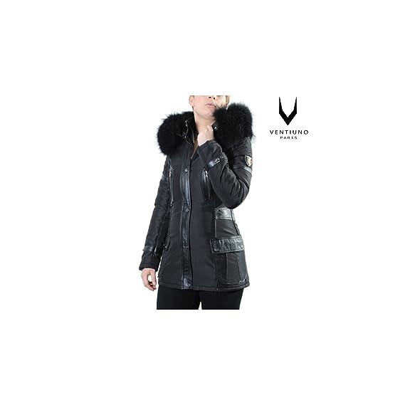 Ventiuno-Chaqueta larga 3/4, bimaterial Fiorella zorro para pelo y piel, color negro negro medium: Amazon.es: Ropa y accesorios