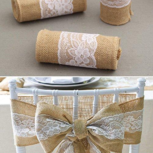 240/cm Vintage en Jute Burlaps Blanc avec Dentelle Rouleau de d/écoration de Mariage XuBa Cube Craft Ruban pour Chemin de Table n/œuds de Chaise 15