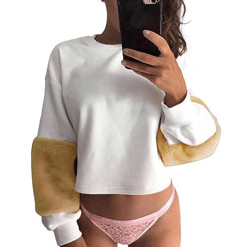 Lenfesh Camisas de Manga Larga Sólido Blusa Round Collar Casual T-shirt Para Mujer