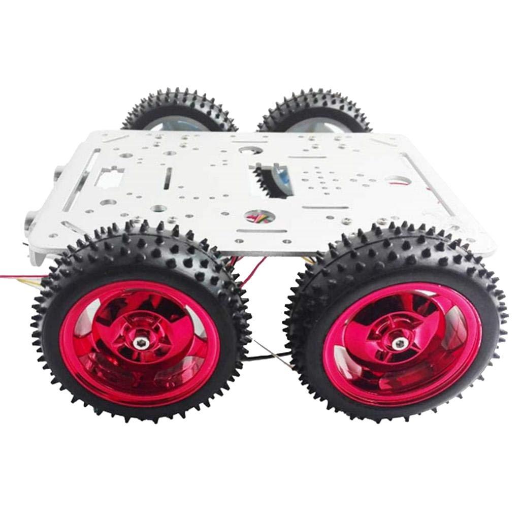 P Prettyia 4輪スマートカー ロボット車シャーシ Arduino DIY用 9V/12VDCモータ ESPduinoキット  - シルバー;12V B07L1HNWDW シルバー;12v