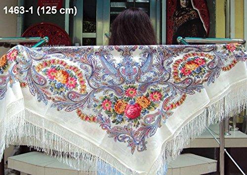 Russian Pavlov Posad Woolen Shawl Silk Fringe Off White 125x125