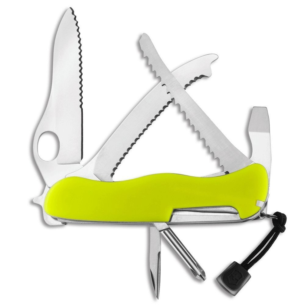 Victorinox Swiss Army Rescue Tool Pocket Knife with Pouch + Pocket Knife Sharpener + Cleaning Cloth - Top Value Bundle! (Fluorescent Yellow) by Victorinox (Image #2)