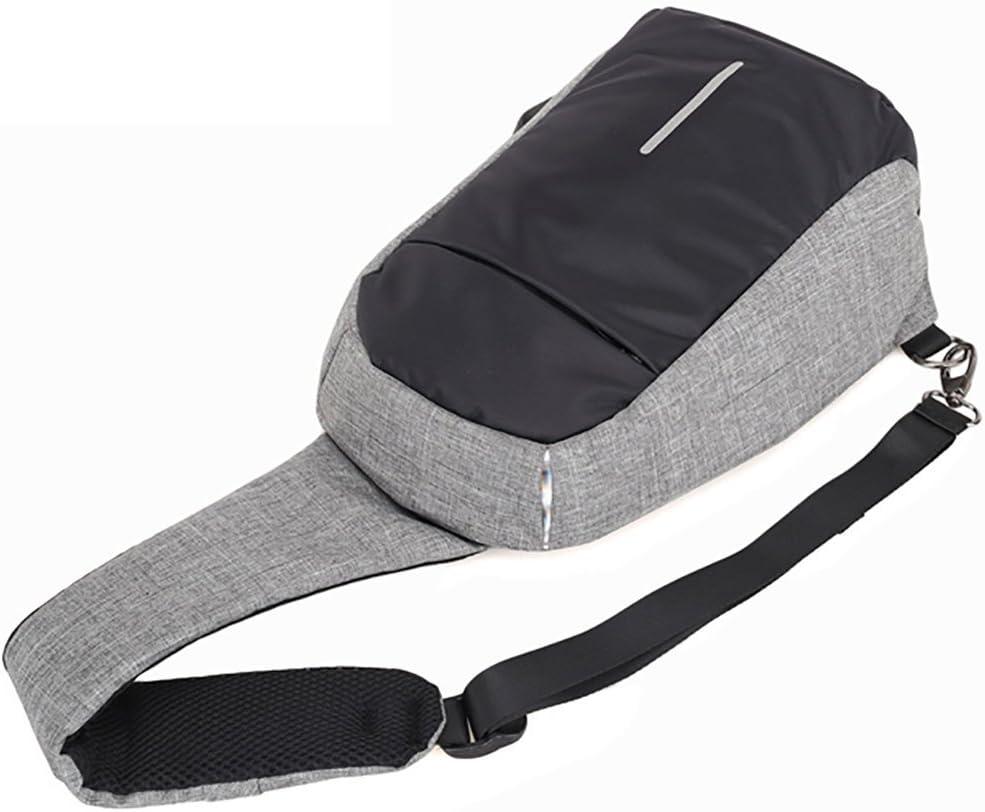 Toile avec USB Port de Charge Trou de casque pour Sport Loisir Sacoche Bandouli/ère Anti-vol Hommes Sac Bandouliere /épaule Sac /à dos Sac de Poitrine