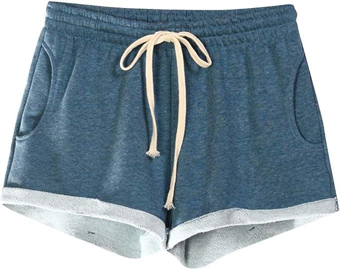 Xniral Yoga Shorts Elastische Sporthose Shorts F/älschen Sie Zwei Einfarbige Splei/ß Fitnesshose Sportoberteil T-Shirt Weste BH