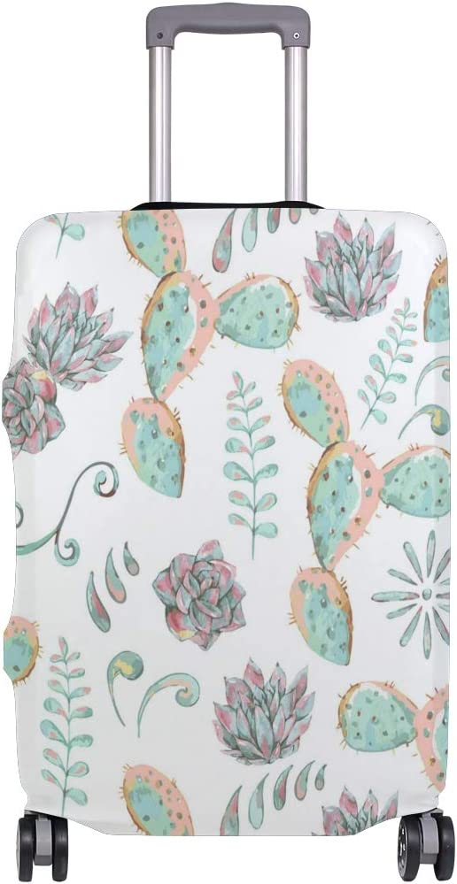 Green Cactus And Succulents Traveler Lightweight Rotating Luggage Protector Case Can Carry With You Can Expand Travel Bag Trolley Rolling Luggage Protector Case
