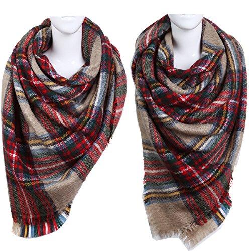 Vesfashion 2pcs Scarf Plaid&Tartan Infinity Scarf for Women Classic Large Blanket Scarf Stylish Gorgeous Wrap Shawl Soft Shawl