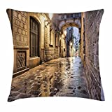 Lunarable City Throw Pillow Cushion Cover, Narrow Street Gothic Design Architecture Carrer del Bisbe Barcelona Spain Europe, Decorative Square Accent Pillow Case, 18 X 18 Inches, Tan Pale Brown