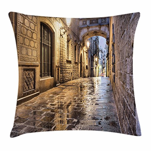 Lunarable City Throw Pillow Cushion Cover, Narrow Street Gothic Design Architecture Carrer del Bisbe Barcelona Spain Europe, Decorative Square Accent Pillow Case, 18 X 18 Inches, Tan Pale Brown by Lunarable