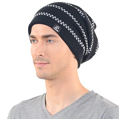 d78c8993834 Mens Black Slouch Beanie Long Knit Cap Skull Winter Hat Z s  Amazon.in   Clothing   Accessories