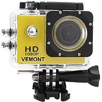 Vemont Cámara Deportiva 1080P HD Impermeable 30M Pantalla de 2.0 Lente de Gran Angular de 120 Grados Multiples Accesorios para Deportes y Actividades, Buceo, Nadar, Correr, Ciclismo, etc. (Amarillo)