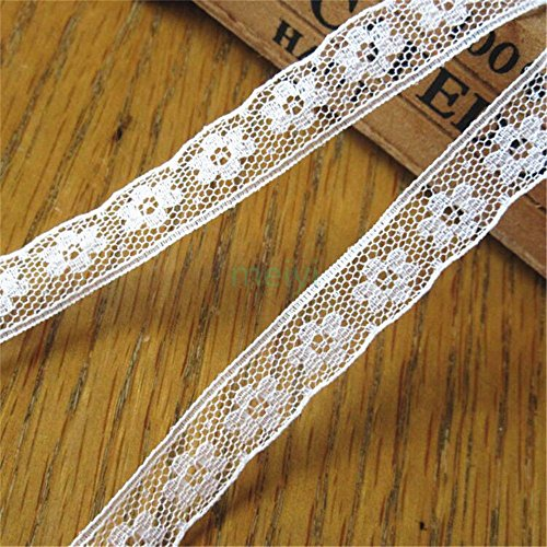 10 Yard Soft Nylon Lace Edge Trim Ribbon 1.3 cm Width Vintage Style Off White Edging Trimmings Fabric Embroidered Applique Sewing Craft Wedding Bridal Dress DIY Gift Card Clothes Embellishment
