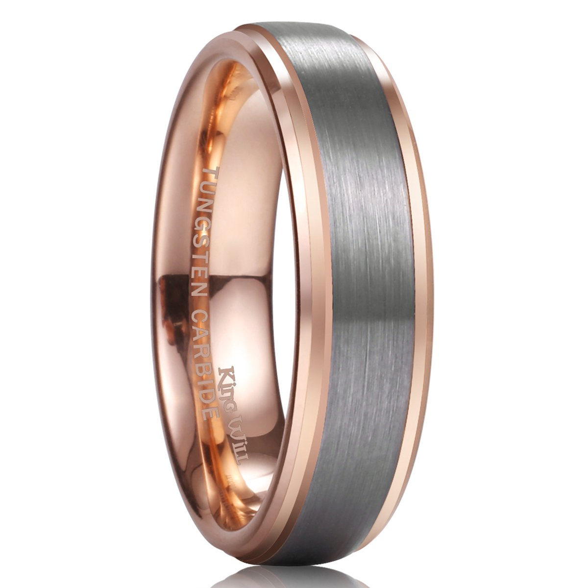 King Will Duo Unisex 6mm 18k Rose Gold Plated Tungsten Carbide Ring Two Tone Wedding Band 8.5