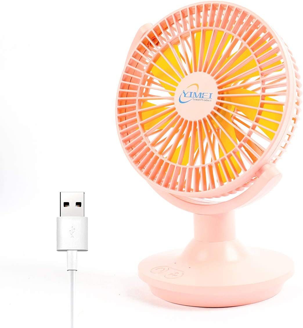 USB Desk Fan, 180°Auto Oscillating Small Fan with 3 Speeds Cool Wind, Vertical Adjustment Portable Mini Fan for Office, Golf Cart, Picnic, Home