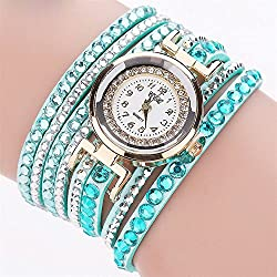 Women Analog Quartz Watch,ODGear Ladies Cheap Wrist Watch Rhinestone Bracelet NW36 (Green)