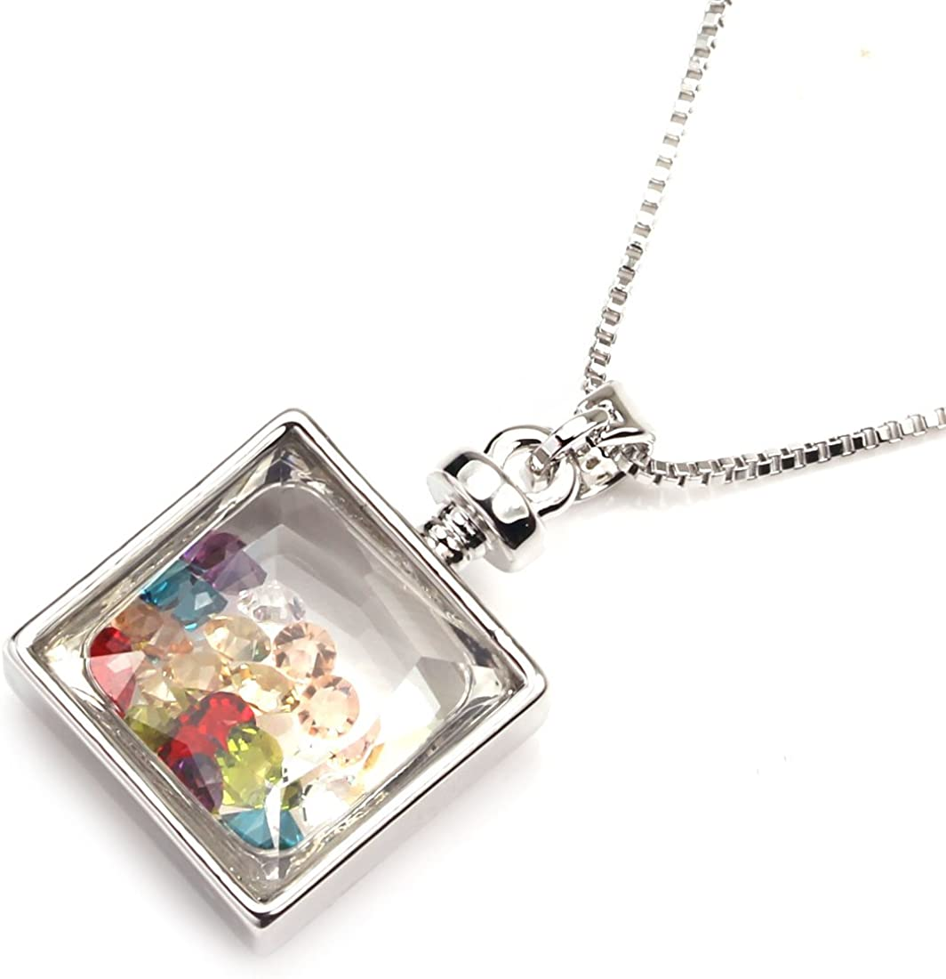 Sterling Silver Girls .8mm Box Chain Cubic Zirconia Glass Of Red Wine Pendant Necklace