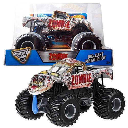 Hot Wheels Year 2016 Monster Jam 1:24 Scale Die Cast Metal Body Official Truck - ZOMBIE (BGH24) with Monster Tires, Working Suspension and 4 Wheel (Diecast Monster Truck)