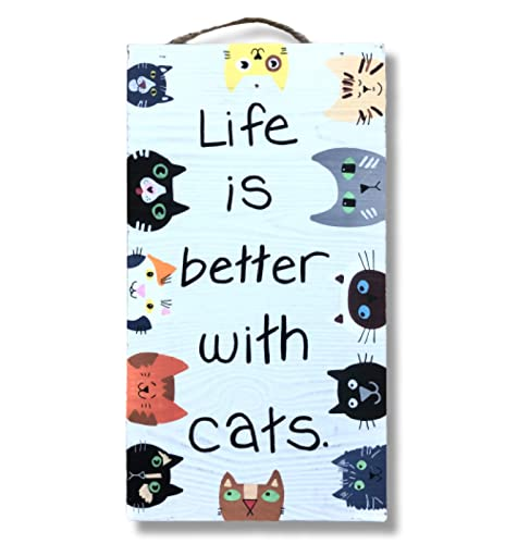 Life is Better with Cats Whitewashed Wood Wall Hanging, Cat Lover Gift